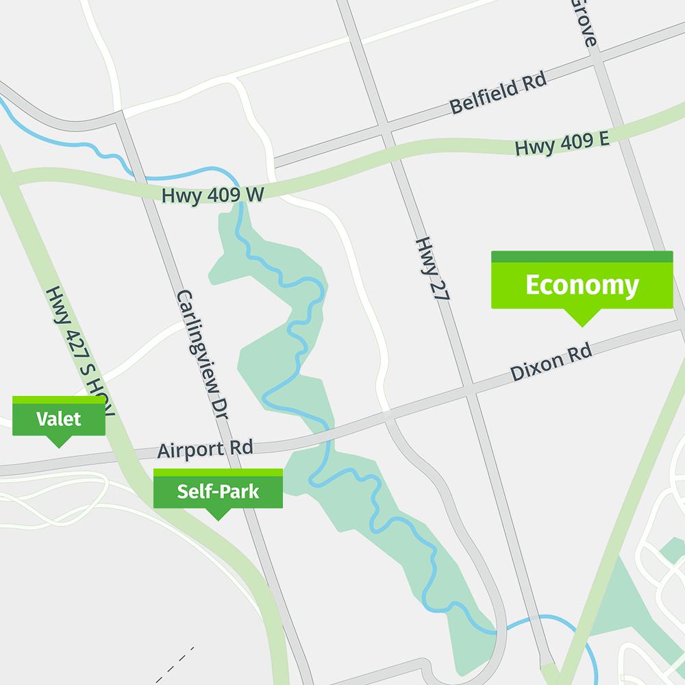 Park'N Fly Toronto Economy map