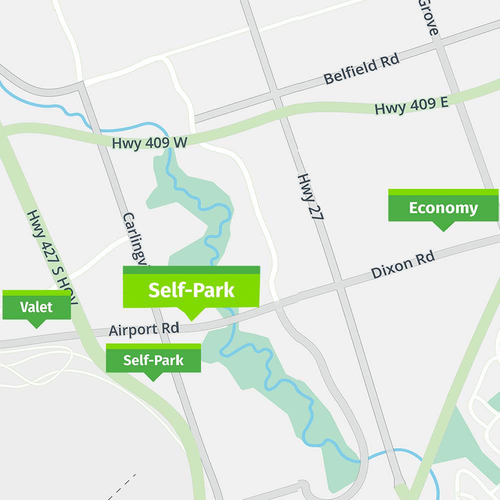 Park'N Fly Toronto Self Park map
